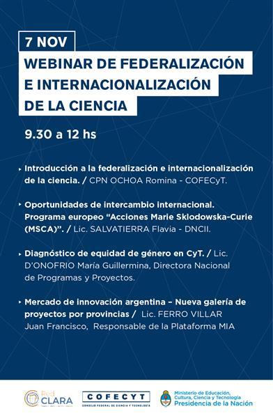 WEBINAR DE FEDERALIZACIÓN E INTERNACIONALIZACIÓN DE LA CIENCIA